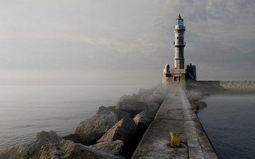 камни, море, туман, маяк, гавань, маяк порт-вашингтон, волнолом