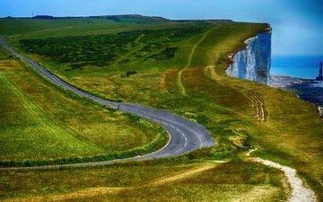 дорога, пейзаж, скала, маяк, побережье