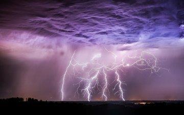 небо, облака, ночь, огни, тучи, молния, гроза, шторм, стихия