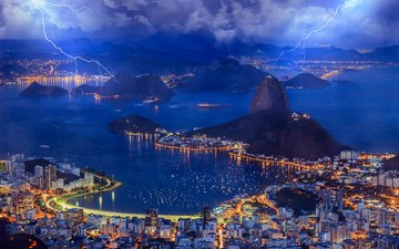 the sky, light, clouds, lights, the evening, sea, lightning, the city, bay, brazil, rio de janeiro