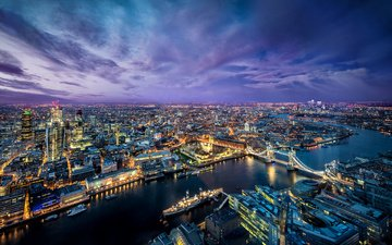 the sky, lights, the evening, river, ships, panorama, bridge, uk, london, thames, the city, building, tower bridge