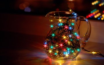 lights, star, window, glass, pitcher, garland, dream, bokeh