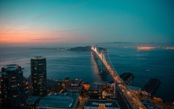 light, night, bridge, the city, usa, san francisco
