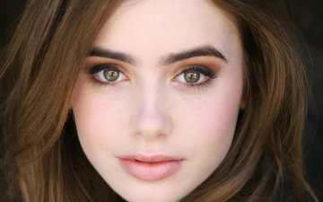 girl, portrait, look, model, hair, lips, face, actress, lily collins