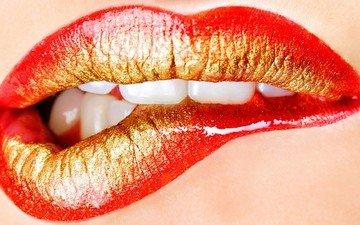 mädchen, lippen, gesicht, zähne, lippenstift