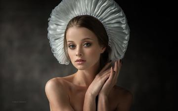 girl, portrait, look, model, hair, face, studio, bare shoulders, dennis drozhzhin, denis drozhzhin, maria zhgenti