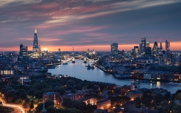 river, sunset, london, england, building, the urban landscape