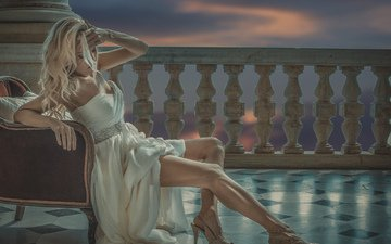 girl, pose, look, legs, hair, face, chair, white dress, high heels, alessandro pampolini