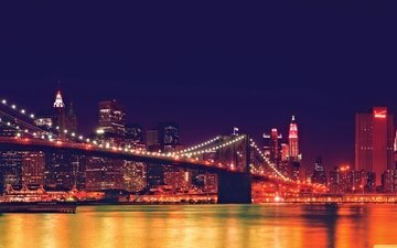 light, night, landscape, bridge, the city, usa, new york, brooklyn bridge