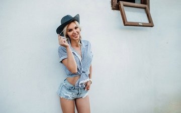 girl, blonde, smile, look, model, face, hat, denim shorts, evgeny freyer