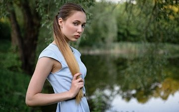 trees, water, girl, dress, look, model, hair, face, long hair, sergey fat