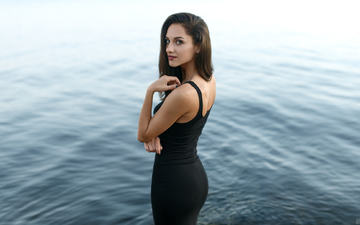 water, river, girl, smile, brunette, look, model, black dress