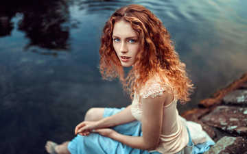 water, lake, portrait, red, model, face, blue eyes, barefoot, curly hair, lods franck