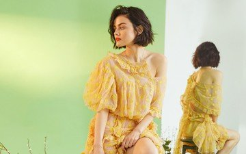 girl, reflection, model, profile, face, actress, lucy hale, yellow dress