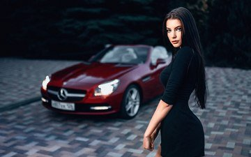 girl, brunette, look, model, hair, face, car, black dress, mercedes-benz