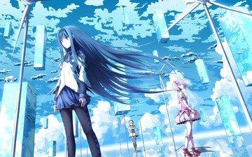 the sky, art, clouds, anime, girls, akemi homura, langjiao, girl madoka, mahou shoujo madoka magica, kaname madoka, tomoe mami
