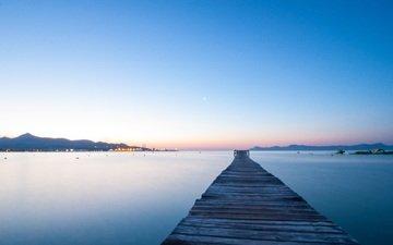 небо, закат, горизонт, пирс, причал, испания, майорка