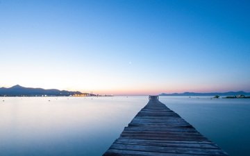 the sky, sunset, horizon, pierce, pier, spain, majorca