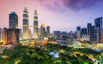 clouds, night, park, skyscrapers, megapolis, building, malaysia, kuala lumpur