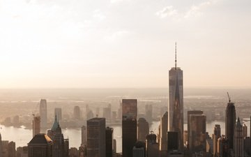 the city, skyscrapers, new york, building, manhattan