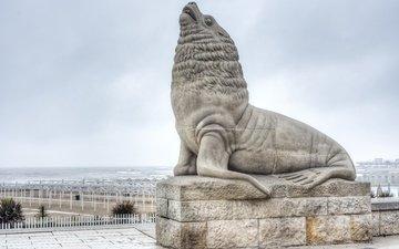 statue, argentina, sea lion, buenos aires, mar del plata