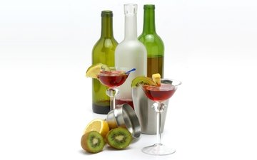 fruit, wine, cocktail, kiwi, glasses, bottle, martini, lemons