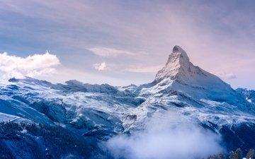 горы, снег, природа, зима, пейзаж, швейцария, альпы, маттерхорн