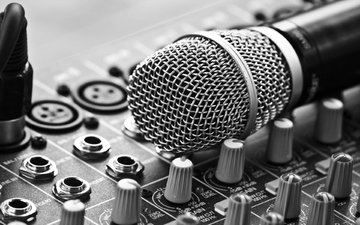 microphone, music, black and white, amplifier, studio