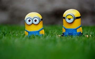 grass, glasses, cartoon, toys, jumpsuit, minions