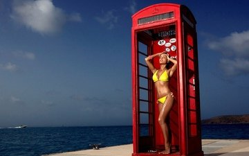 girl, sea, pose, brunette, pierce, legs, phone booth, bikini, closed eyes