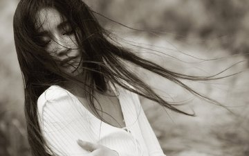 girl, black and white, model, hair, face, the wind, closed eyes