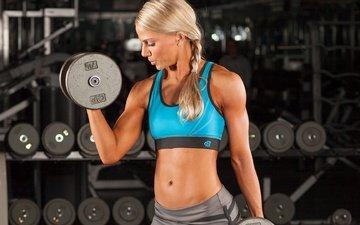 blonde, model, profile, fitness, dumbbells, bodybuilding