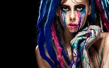 girl, pose, look, paint, model, black background, face, dreadlocks, fingers, makeup, tears