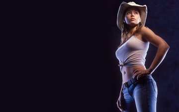 girl, pose, look, model, chest, black background, actress, figure, body, jessica biel, cowboy hat