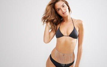 girl, look, model, hair, face, figure, bikini, chain, waist