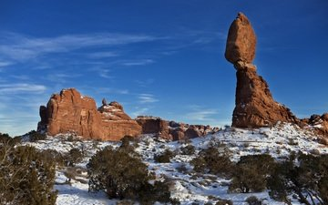 the sky, rocks, snow, winter, landscape, monument valley
