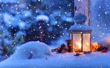 свет, снег, зима, фонарь, свеча, рождество, шишки, боке, фонарик