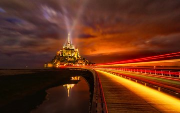 night, lights, castle, island, fortress, france, normandy, mont-saint-michel
