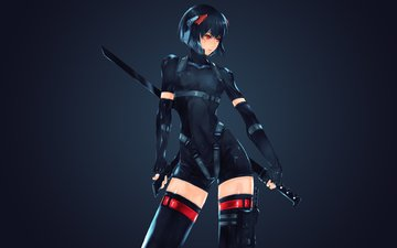 girl, look, anime, hair, face, katana, kusanagi motoko