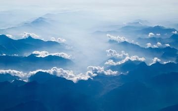 the sky, clouds, mountains, nature, horizon