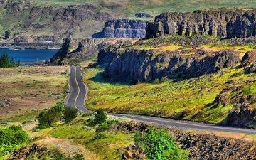 дорога, озеро, горы, скалы