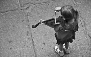 скрипка, музыка, чёрно-белое, дети, девочка
