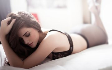 girl, lies, hair, face, bed, brown hair, closed eyes, natalia contreras