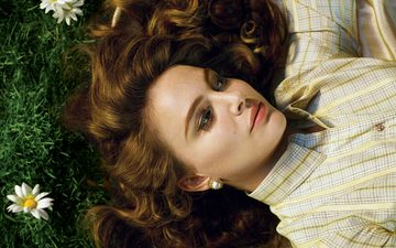 flowers, grass, girl, look, lies, model, chamomile, hair, face, actress, makeup, photoshoot, natalie portman, alex prager