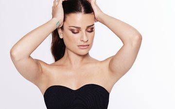 actress, singer, closed eyes, the website, author, bare shoulders, songwriter, lea michele
