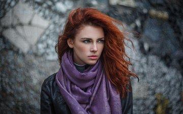 девушка, взгляд, рыжая, волосы, лицо, веснушки, шарф, анна, кожанка, ivan warhammer