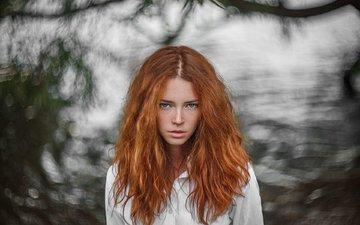 девушка, взгляд, рыжая, модель, волосы, лицо, веснушки, анна, ivan warhammer