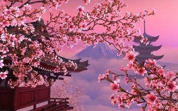 небо, цветы, дерево, цветение, гора, пагода, япония, весна, сакура