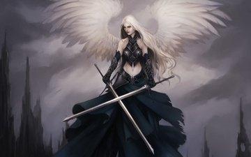 арт, девушка, крылья, ангел, перья, lucas torquato de resende