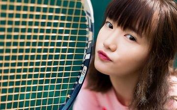 girl, look, hair, lips, face, asian, racket